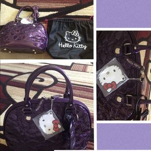 Loungefly hello kitty embossed purple bag & wallet